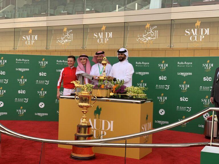 Saudi Cup winning trophy presentation